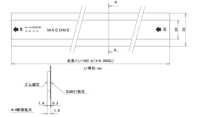 增量式线性编码器磁性刻度SIS-210外形图