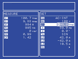 Measurement results and setting values