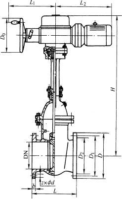 Z941T/W/H型铸铁电动楔式法兰闸阀PN10~PN16外形尺寸图