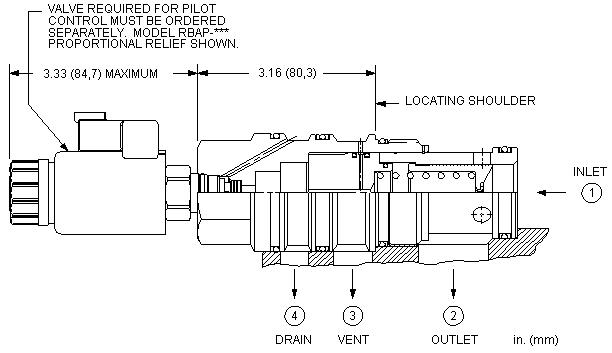 RVID8 : 外接口控制, 先导控制式, 平衡滑阀 溢流 主级 带集成T-8A控制插孔 和 口4外泄