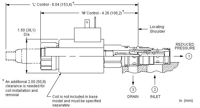 PRDL : 电比例 , 直动式, 减压/溢流阀 带开式过渡位