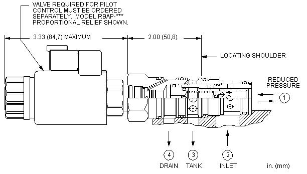 PVFA8 : 先导控制式, 减压/溢流 主级 带集成T-8A控制插孔 和 口4外泄
